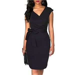 Wrap V-Neck Ruched Bodycon Belted  Black Pencil Dr